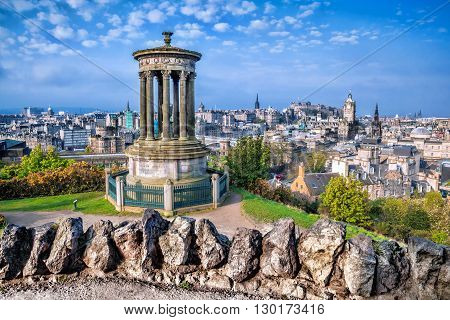Famous Edinburgh with Calton Hill in Scotland