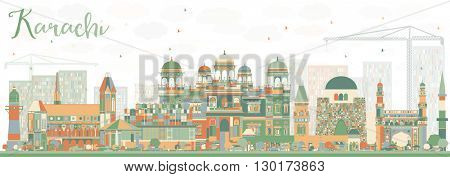 Abstract Karachi Skyline with Color Landmarks. Business Travel and Tourism Concept with Historic Buildings. Image for Presentation Banner Placard and Web Site.