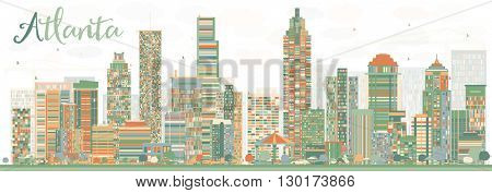 Abstract Atlanta Skyline with Color Buildings. Business Travel and Tourism Concept with Modern Buildings. Image for Presentation Banner Placard and Web Site.