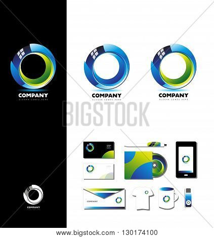 Vector company logo icon element template 3d circle design glossy corporate business