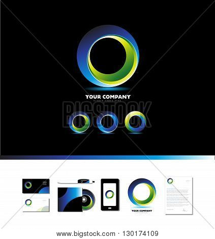 Vector company logo icon element template corporate business circle black background