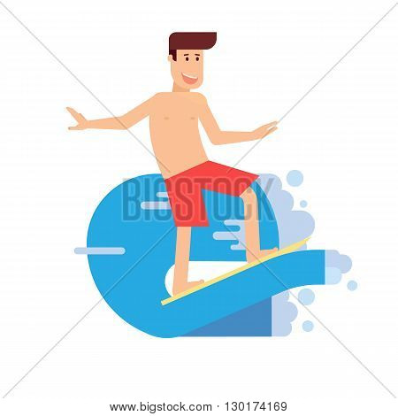 Happy surfer riding on the wave in flat design. Smiling man surfing and standing on board.