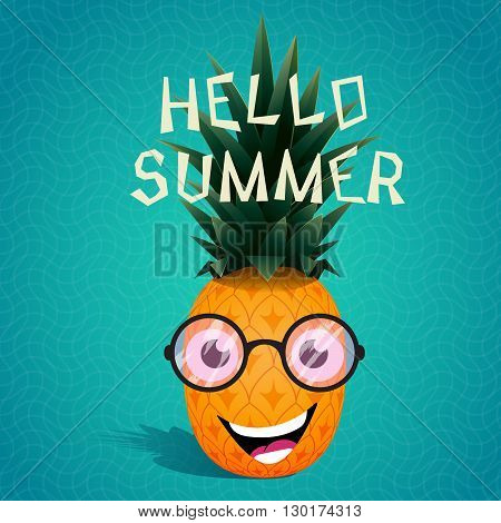Funny cartoon pineapple in the sunglasses.Fruit character.Hello summer. Vector illustration