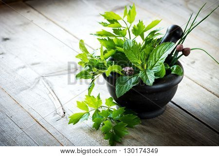 Mortar with herbs on rustic wooden table