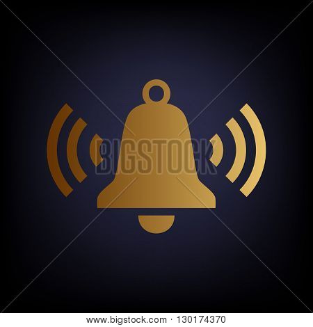 Ringing bell icon. Golden style icon on dark blue background.