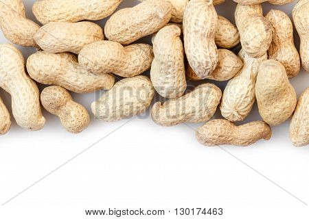 groundnut in the skin close-up on a white background