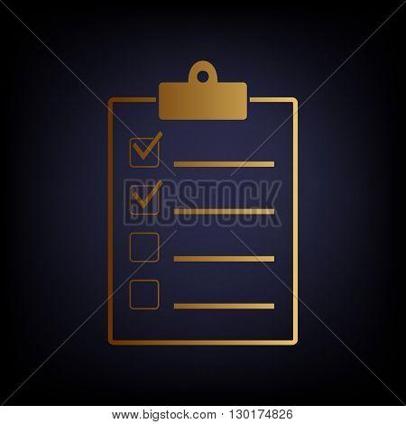 Checklist sign. Golden style icon on dark blue background.