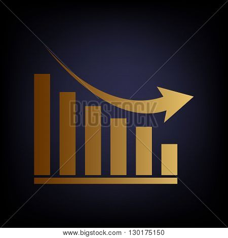 Declining graph sign. Golden style icon on dark blue background.