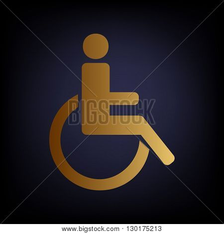 Disabled sign. Golden style icon on dark blue background.