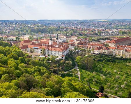 Strahov monastery from above at spring sunny day Prague Czech Republic