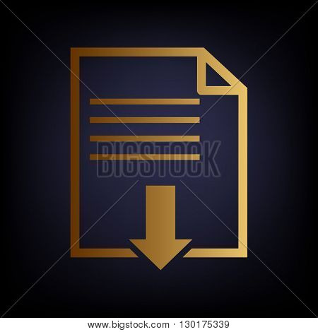File download sign. Golden style icon on dark blue background.