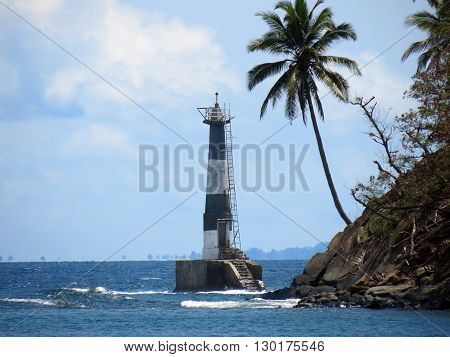 A lighthouse damaged by 2004 Indian ocean earthquake and tsunami at Ross Island, Port Blair, Andaman and Nicobar Islands, India, Asia.