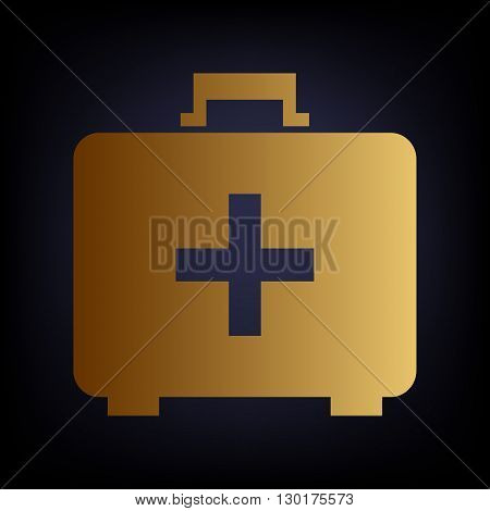 First aid box sign. Golden style icon on dark blue background.