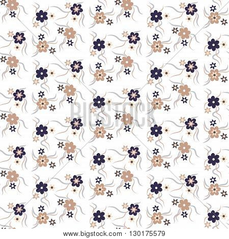 Seamless floral pattern beige and dark blue colors.