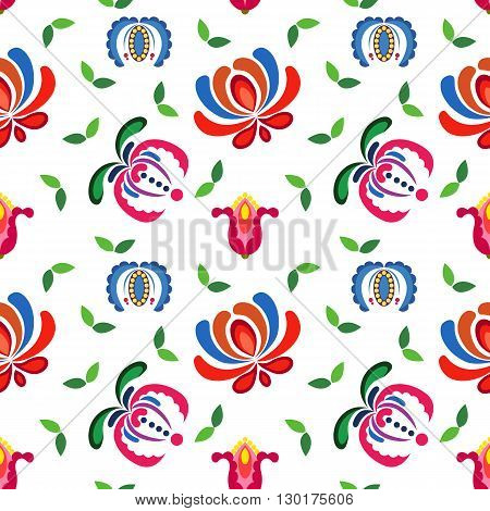 Hungarian folk art, seamless colorful flower pattern.