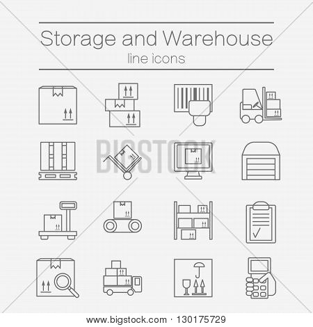 Big set of modern thin line icons for warehouse stock and industrial storage isolated on background. Vector illustration