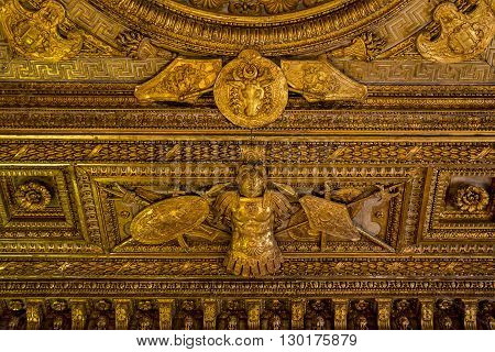 Paris, France - May 12: This is fragment of ceiling decoration of one of the halls of the famous Louvre museum May 12, 2013 in Paris, France.