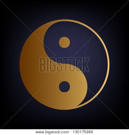 Ying yang symbol of harmony and balance. Golden style icon on dark blue background.