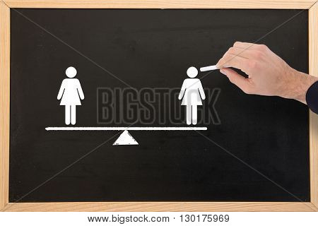Hand of a businessman writing with a white chalk against blackboard with copy space