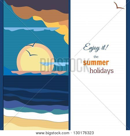 Peaceful sea sunset panorama. Warm palette. Vintage poster. EPS10 vector illustration.