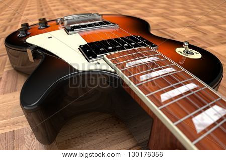 3D computer rendering of a Electric Guitar on wooden parquet flooring