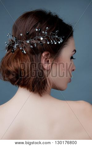 Bridal fashion. View from the back. Strapless dress with lacing.