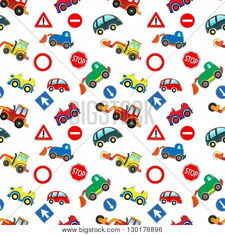 Kids cars pattern with cars, machines, traffic signs, white background.