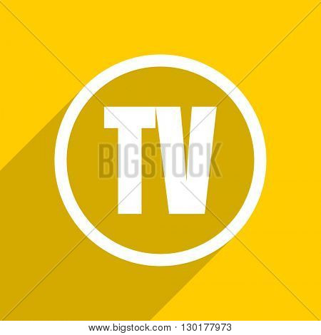 yellow flat design tv web modern icon for mobile app and internet