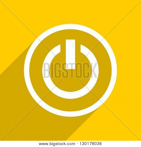 yellow flat design power web modern icon for mobile app and internet