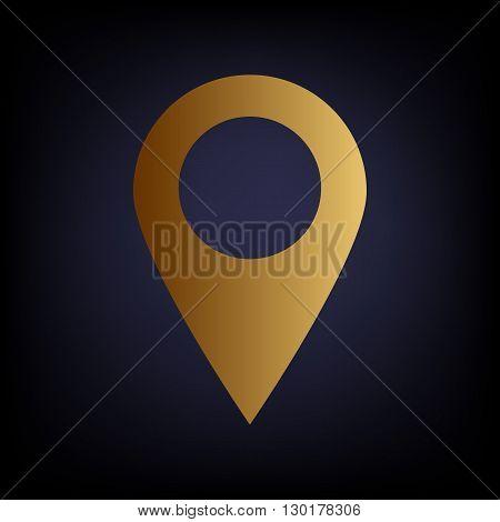 Mark pointer sign. Golden style icon on dark blue background.
