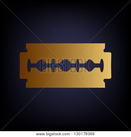 Razor blade sign. Golden style icon on dark blue background.