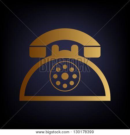 Retro telephone sign. Golden style icon on dark blue background.