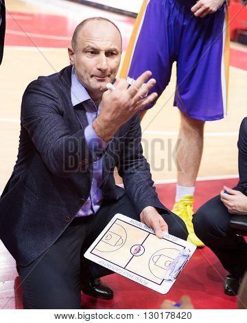 Bc Royal Hali Gaziantep Head Coach Aziz Bekir During A Timeout