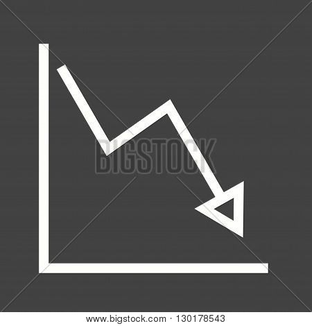 Graph, down, decline icon vector image. Can also be used for infographics. Suitable for use on web apps, mobile apps and print media.