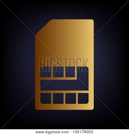 Sim card sign. Golden style icon on dark blue background.