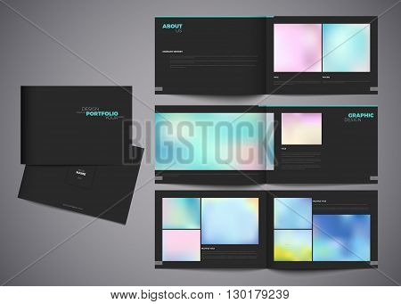 Graphic design studio portfolio template. White creative pages and cover design with your text photo or illustrations. Paper portfolio book vector eps10 modern template