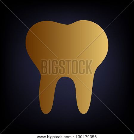 Tooth sign. Golden style icon on dark blue background.