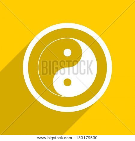 yellow flat design ying yang web modern icon for mobile app and internet