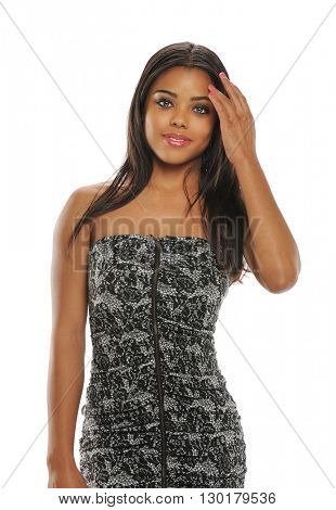 Beautiful young black woman portrait isolated on a white background