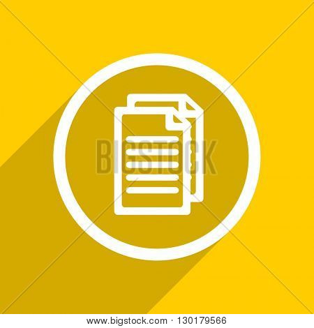 yellow flat design document web modern icon for mobile app and internet