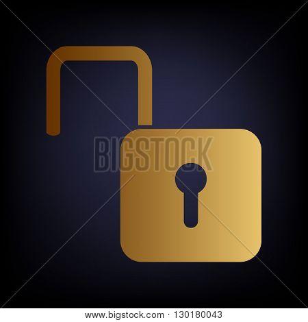 Unlock sign. Golden style icon on dark blue background.
