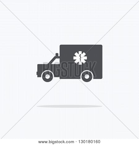 Ambulance. Icon ambulance on a light background. Vector illustration.