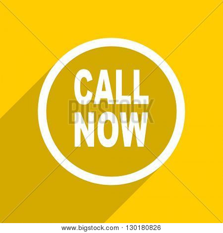 yellow flat design call now web modern icon for mobile app and internet