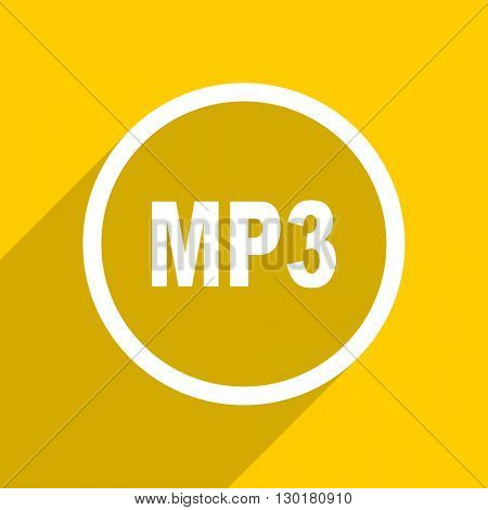 yellow flat design mp3 web modern icon for mobile app and internet