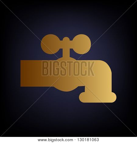 Water faucet sign. Golden style icon on dark blue background.