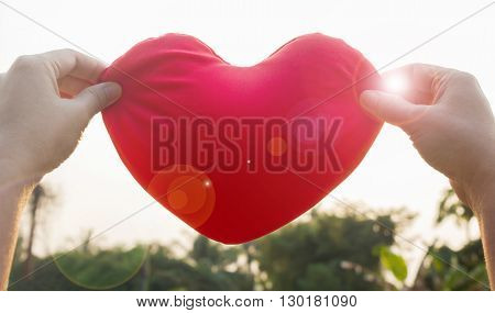 Hands Hold Or Raise Big Red Heart To Sky With Lens Flare And Sunlight On Sky And Nature Tree Backgro