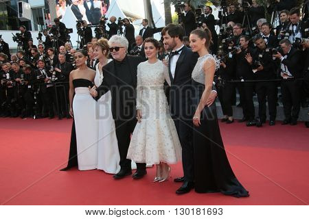Inma Cuesta, Emma Suarez, Pedro Almodovar, Adriana Ugarte, Daniel Grao, Michelle Jenner attend a screening of 'Julieta' at the Cannes Festival at Palais on May 17, 2016 in Cannes, France.