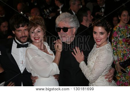 Emma Suarez, Pedro Almodovar, Adriana Ugarte attend a screening of 'Julieta' at the Cannes Festival at Palais on May 17, 2016 in Cannes, France.