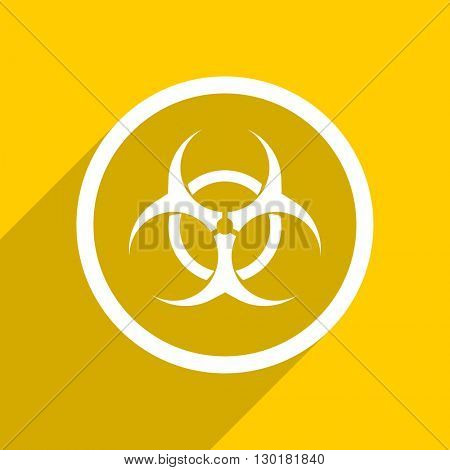 yellow flat design biohazard web modern icon for mobile app and internet