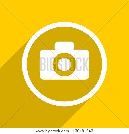 yellow flat design camera web modern icon for mobile app and internet